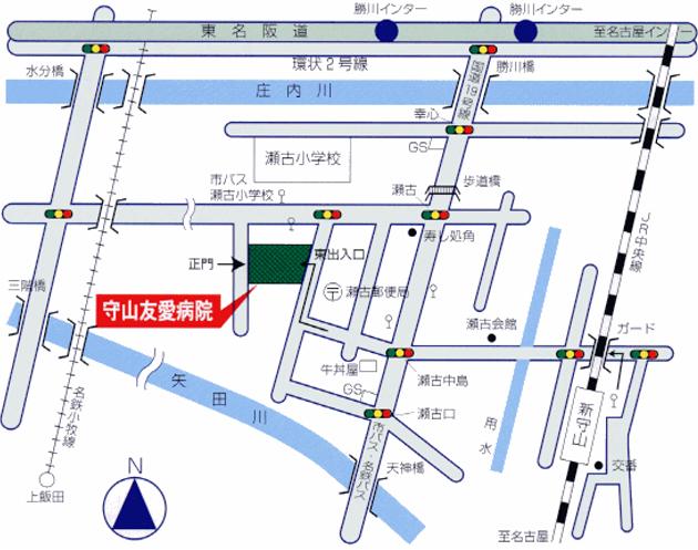 名古屋市守山区西部いきいき支援センター周辺の地図が表示されています。